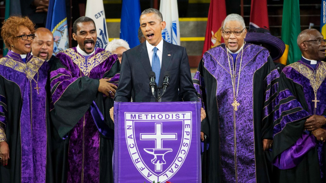 "Obama sings ""Amazing Grace"" during a service in June honoring the life of the Rev. Clementa Pinckney, a South Carolina lawmaker. Pinckney was one of nine people killed in a shooting at a church in Charleston, South Carolina."