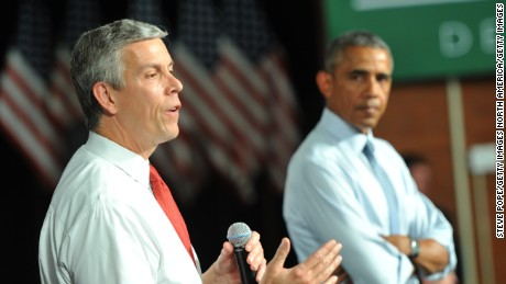 U.S. Secretary of Education Arne Duncan speaks alongside U.S. President Barack Obama at a town hall style meeting at North High School on September 14, 2015 in Des Moines, Iowa.