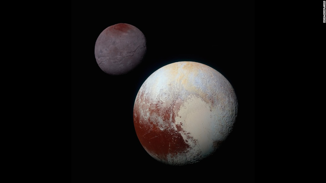 "<a href=""http://www.nasa.gov/feature/pluto-s-big-moon-charon-reveals-a-colorful-and-violent-history"" target=""_blank"">This composite of enhanced color images</a> shows the striking differences between Pluto, lower right, and its largest moon, Charon. NASA says the color and brightness of the two worlds have been processed identically to allow for direct comparison. Pluto and Charon are shown with approximately correct relative sizes, but their true separation is not to scale."