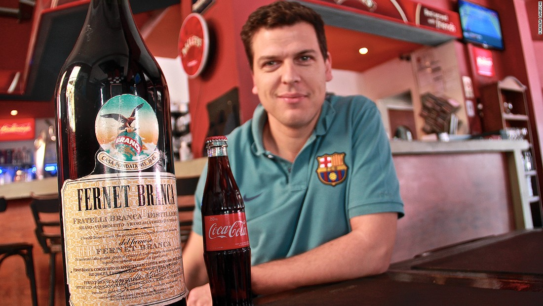 Fernet is a popular liquor, though its bitter tang is an acquired taste. Juan Chico, manager of a bar in the Palermo neighborhood, says he sells an average of 70 glasses of Fernet a day.