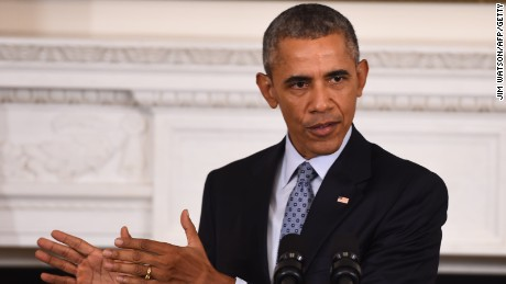 Barack Obama speaks during a news conference at the White House on October 2, 2015.