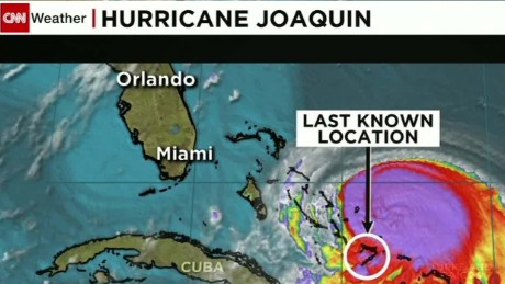 a screenshot of Hurricane Joaquin on a weather map