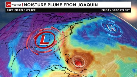 While Hurricane Joaquin is predicted to miss the U.S., water connected to the storm is feeding torrential rain on the East Coast.