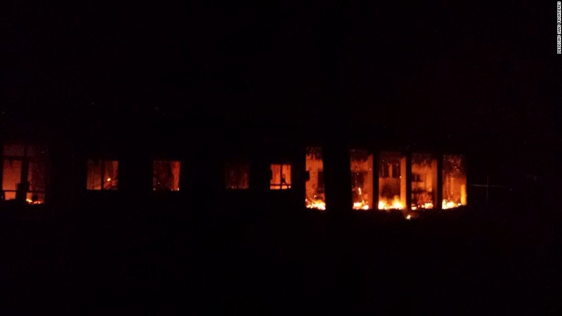 Flames are seen inside a Doctors Without Borders hospital in Kunduz, Afghanistan after an aerial attack on Saturday, October 3, killing at least 19 people, including 12 staffers and seven patients, the charity said.