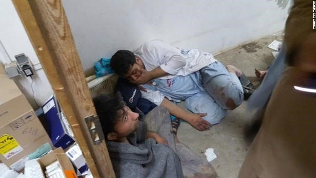 The attacks, which injured at least 37 other people and left part of the hospital in flames and rubble, came on roughly the sixth day of fighting between Afghan government forces -- supported by U.S. airpower and military advisers -- and the Taliban, which invaded the city early this week.