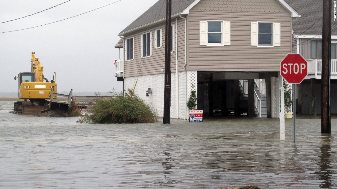 Flooding engulfs a neighborhood in the Strathmere section of Upper Township, New Jersey, on October 2.