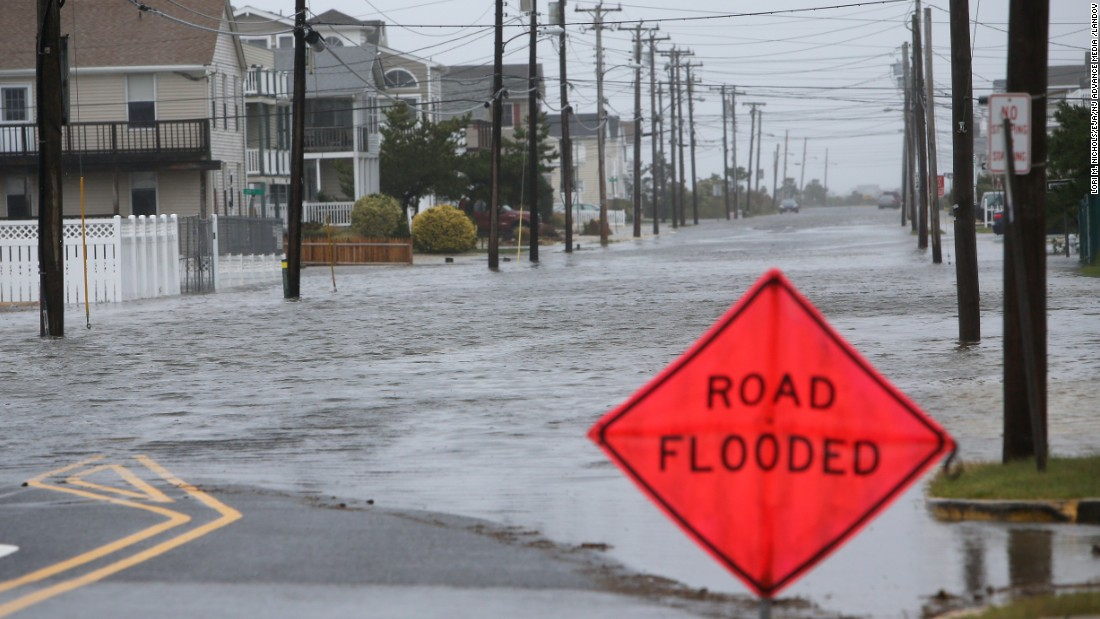 Floodwaters rise along Central Avenue in Sea Isle City, New Jersey, on October 2.