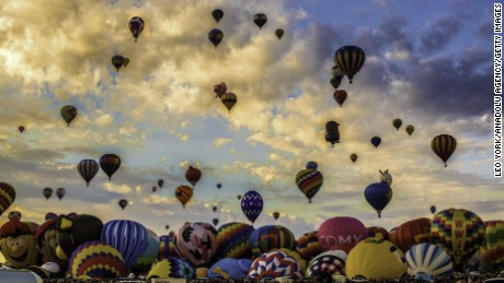Balloons launch during the Albuquerque International Balloon Fiesta in New Mexico, on October 4, 2015.