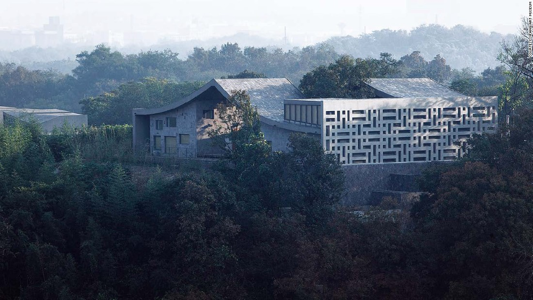 The San-He Residence in Sifang Art Park was designed by Chinese architect Wang Shu. It was inspired by a traditional Chinese courtyard house.