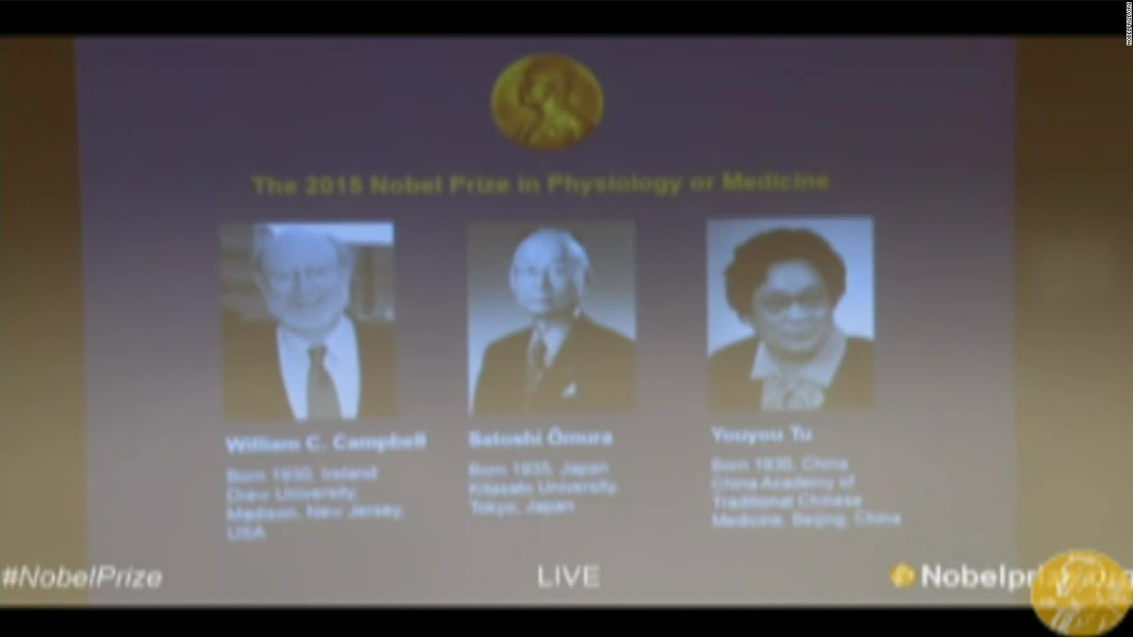 3 scientists share Nobel Prize for medicine for work on parasitic diseases