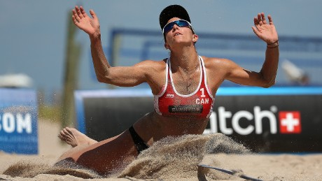 FORT LAUDERDALE, FL - OCTOBER 01:  Jamie Lynn Broder of Canada plays a shot during a match against Liliana Fernandez and Elsa Baquerizo Of Spain during FIVB Fort Lauderdale Swatch Season Final on October 1, 2015 in Fort Lauderdale, Florida.  (Photo by Mike Ehrmann/Getty Images for FIVB)