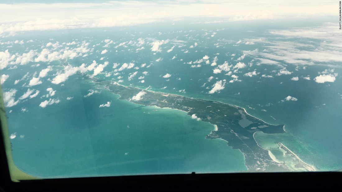The plane passes over Eleuthera, another Bahamian island, located about 50 miles east of Nassau. The crew had been mildly concerned about weather before takeoff, but they called the conditions for Monday's search prime, explaining that with few clouds and no whitecaps on the smooth ocean surface, it was much easier to spot and identify debris.