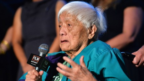 """Documentary subject Grace Lee Boggs speaks on stage at the """"American Revolutionary"""" premiere during the 2013 Los Angeles Film Festival."""