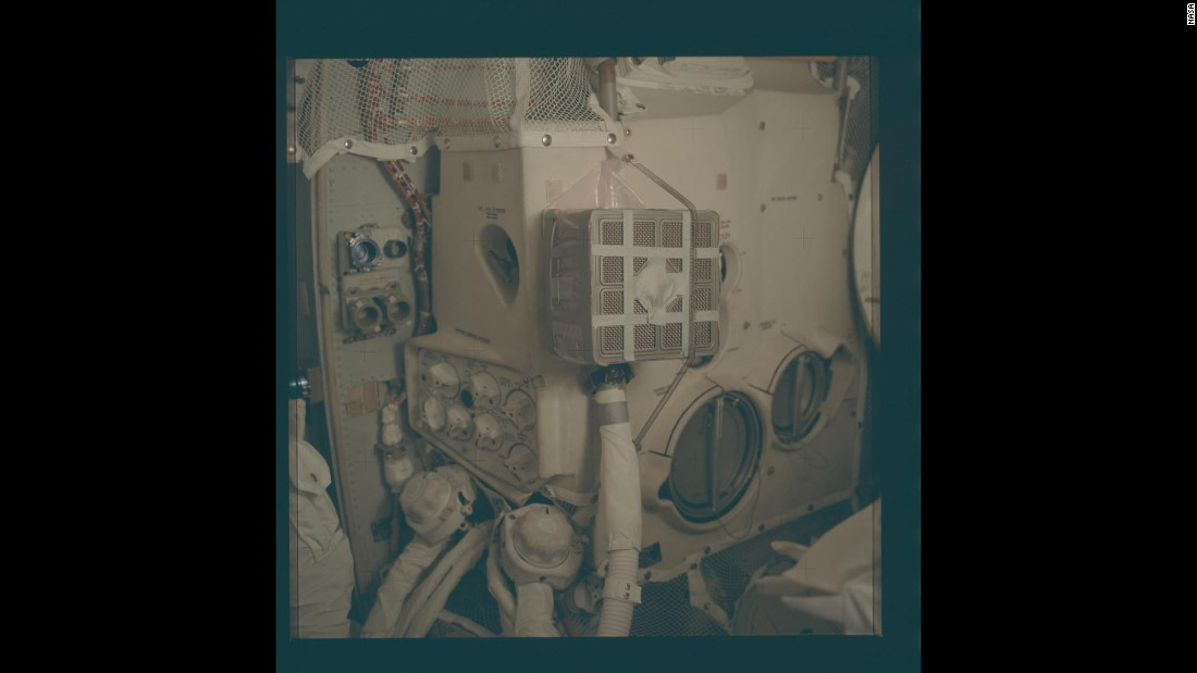"A close-up of the ""mailbox"" solution that saved the astronauts aboard Apollo 13."