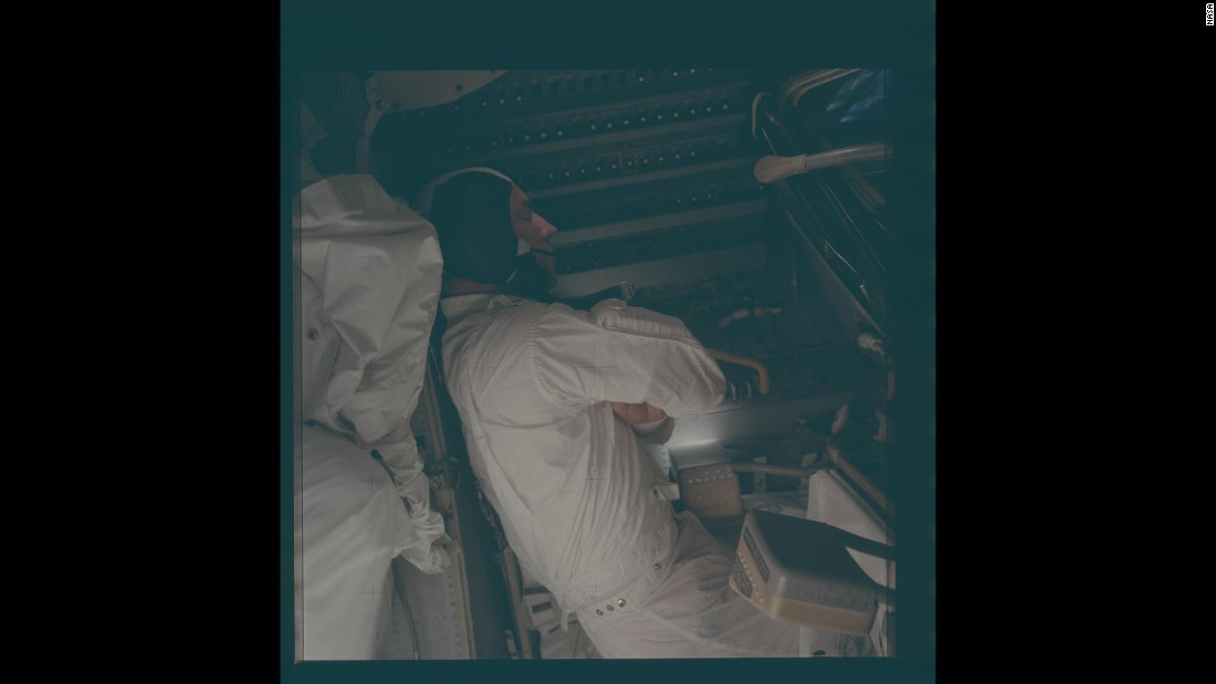 Lovell sleeps in the lunar module of Apollo 13.