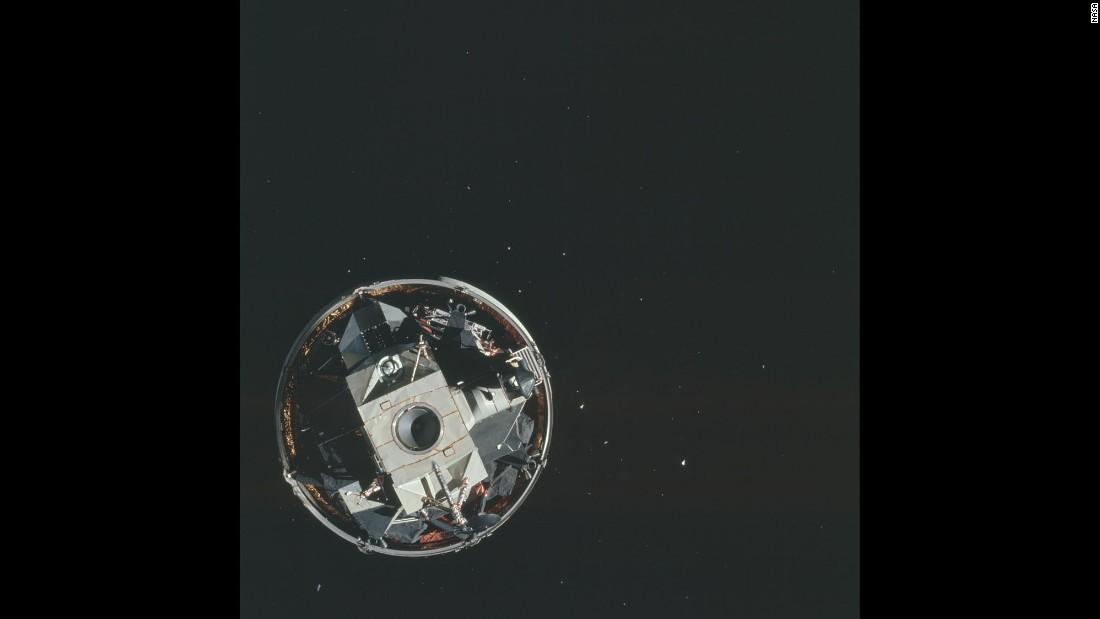 The lunar module from Apollo 15 is seen in orbit.