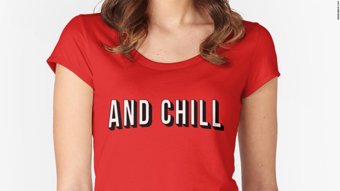 """There are a few ways to go about """"<a href=""""http://knowyourmeme.com/memes/netflix-and-chill"""" target=""""_blank"""">Netflix and chill</a>,"""" one of the Internet's more subtle euphemisms for inviting someone over for sexual purposes. The key component is a T-shirt to signify Netflix, maybe one with the company's logo or the slogan """"and chill,"""" as depicted here. The remaining props could include a bag of ice (get it?) or an overnight bag containing wine, condoms, comfortable socks, a toothbrush and anything else you might bring along for that not-so-spontaneous hookup."""
