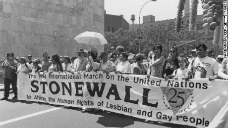 A march to commemorate the 25th anniversary of the Stonewall Riots, New York City, USA, 26th June 1994. The banner reads 'The 1994 International March on the United Nations to Affirm the Human Rights of Lesbian and Gay People'. (Photo by Barbara Alper/Getty Images)
