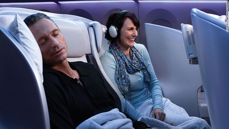 """AirlineRatings.com says: """"Put simply, Air New Zealand's premium economy is like business, just without the bed. From hot towels, a warm duvet, noise canceling headphones, full amenity kit, complete bar offering and business class quality meals and snacks served on a linen tablecloth, it is value and comfort at its best."""""""