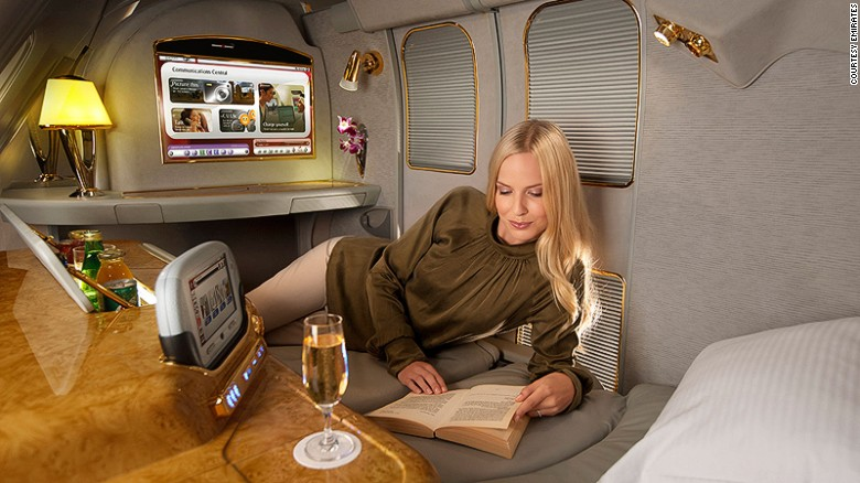 """AirlineRatings.com has announced its 2015 rankings for inflight services. Emirates is among the top three first class providers. AirlineRatings.com says: """"Emirates' first class is modeled on the Orient Express. The railway carriage style cabins drip opulence with service to match. And the airline was the first to offer showers to its first class passengers on the flagship A380. First class passengers can stay cocooned in their private world or seek some company at the lounge bar at the rear of the upper deck."""""""