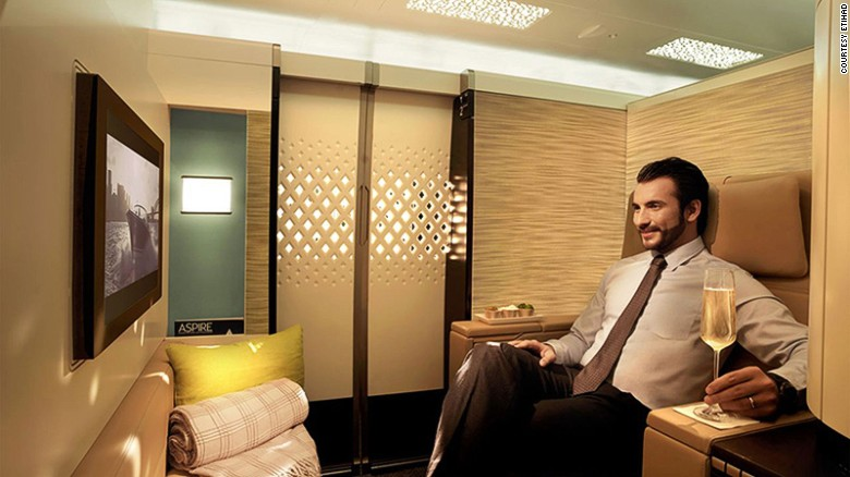"""AirlineRatings.com says: """"Last year Etihad reinvented its premium cabins initially for its long haul A380s and 787s and will upgrade its 777s. Its first class on its flagship A380 is quite simply in a class of its own with space, space and more space. The airline also added a lobby lounge for both first and business class. First class passengers can also use a dedicated shower."""""""