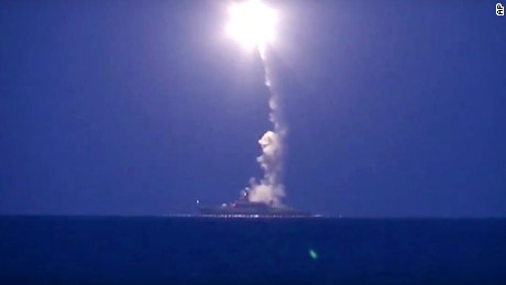 In this photo made from the footage taken from Russian Defense Ministry official web site, Wednesday, Oct. 7, 2015, a Russian navy ship launches a cruise missile in the Caspian Sea. Russia's Defense Minister Sergei Shoigu said four Russian navy ships in the Caspian launched 26 cruise missiles at Islamic State targets in Syria.(Russian Defense Ministry Press Service via AP)