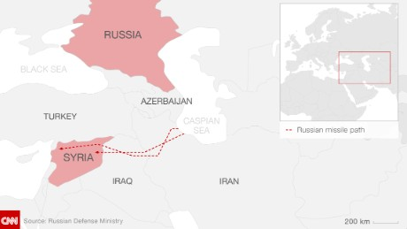 Russia says it launched missiles at Syrian targets from the Caspian Sea.