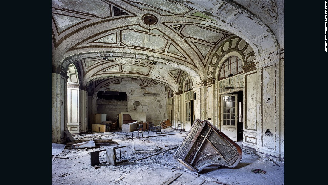"""[Detroit's] splendid decaying monuments are, no less than the Pyramids of Egypt, the Coliseum [<em>sic</em>] of Rome, or the Acropolis in Athens, remnants of the passing of a great Empire,"" the photographers write on their website. <br /><em><br />Ballroom, Lee Plaza Hotel, 2006 (Detroit, Michigan) </em>"