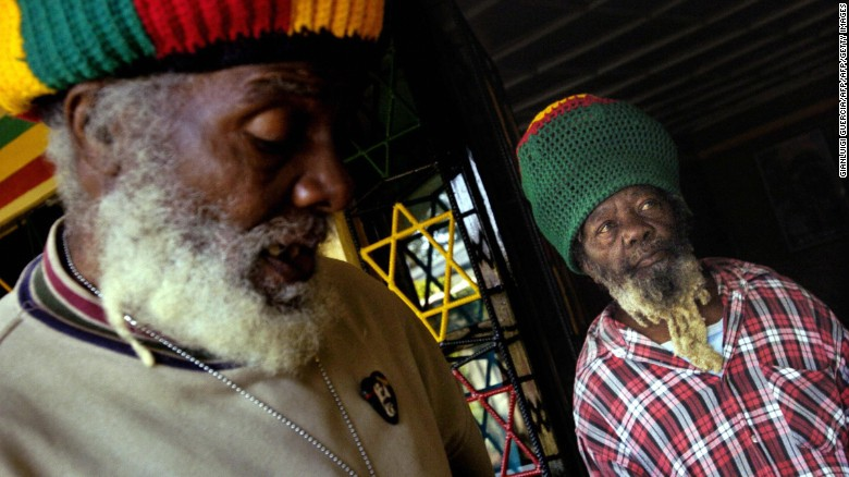 Papa Rocky, head of the Nyabingi Rastafarian Community, Patriarch of the Nyabingi Tabernacle, and Rupert Edwards in Shashamene, 2005.