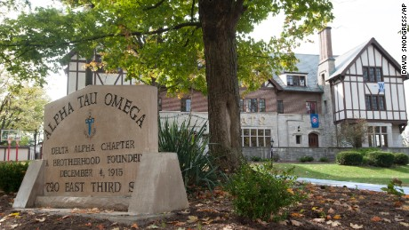 Indiana University officials said Thursday, Oct. 8, 2015 it has suspended the Alpha Tau Omega fraternity in Bloomington, Ind., following allegations of misconduct during a hazing ritual involving a male pledge performing a sex act on a woman in front of a crowd. It wasn't immediately clear whether any criminal charges would be pursued.
