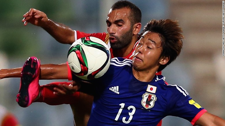 Syria's unbeaten run in qualifying for the 2018 World Cup was ended by Japan in Seeb, Oman. After, failing to break the deadlock in the first-half, Japan scored three times in 15 second-hlaf minutes to move above Syria and to the top of Group E.<br />