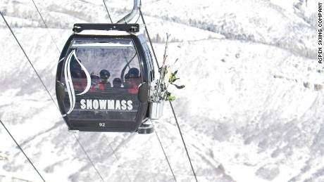 Elk Camp Gondola at Snowmass, accessing part of 1,342 meters of vertical drop, the longest in the United States.