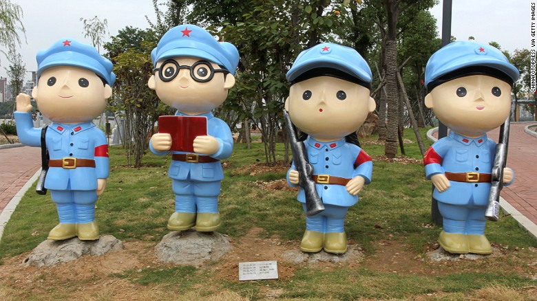 The Red Army looks far cuter in cartoon form. Wuhan's new Communist Party theme park is filled with statues and and exhibits commemorating important figures from the party's history.