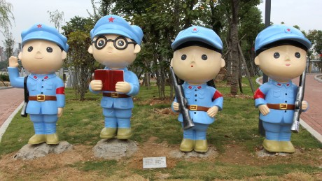 "WUHAN, CHINA - SEPTEMBER 29:  (CHINA OUT) Cartoon statues of Red Army stand at a ""Chinese Communist Party"" theme park at the South Lake in Hongshan District on September 29, 2015 in Wuhan, Hubei Province of China. The theme park opened in in Wuhan's Hongshan District is very own children's theme park dedicated to the Chinese Communist Party, which has conveniently opened just in time for the Golden Week holiday. The park occupies an area of 300,000 square meters and is packed full of cartoon statues commemorating important figures from communist party history. The park also contains plenty of exhibits from which one can learn about the glorious history of the CCP and the values which all good communists seek to uphold.  (Photo by ChinaFotoPress/ChinaFotoPress via Getty Images)"