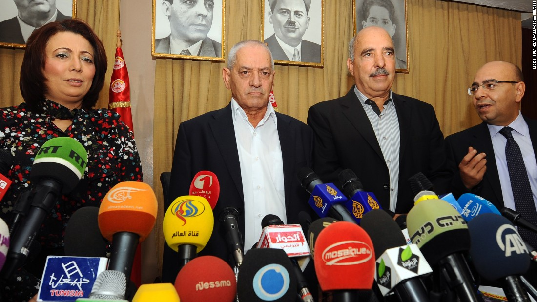 "The 2015 Nobel Peace Prize was awarded to the Tunisian National Dialogue Quartet for its ""decisive contribution to the building of a pluralistic democracy in the country in the wake of the Jasmine Revolution of 2011."" Members of the quartet are seen here in this 2013 photo, left to right, The President of the Tunisian employers union (UTICA), Wided Bouchamaoui, Secretary General of the Tunisian General Labour Union (UGTT) Houcine Abbassi (L) , President of the Tunisian Human Rights League (LTDH), Abdessattar ben Moussa and the president of the National Bar Association, Mohamed Fadhel Mahfoudh."