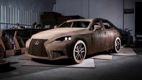 The life-sized origami-inspired Lexus IS replica took a team of five three months to build