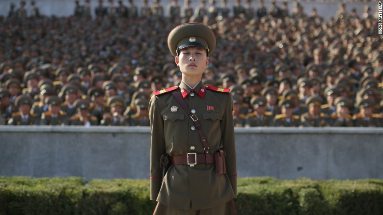A soldier stands at attention in Pyongyang, North Korea, Saturday, October 10, during a military parade marking the 70th anniversary of the North Korea's ruling Worker's Party, and commemorating Kim Jong Un's third-generation leadership.