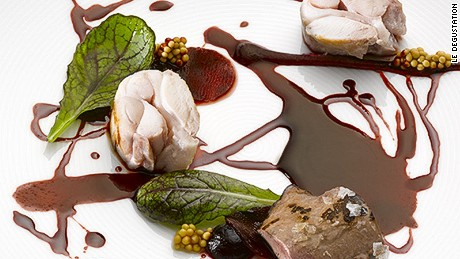 Rabbit with lard, beetroot essence and mustard.