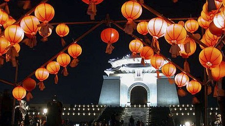 The Chiang Kai Shek Memorial Hall during the annual Taipei Lantern Festival.
