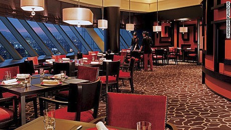 The Pavilion's main dining area features views from the mountains to Taipei 101.