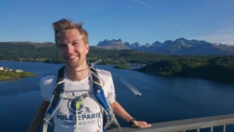 Erlend Moster Knudsen is running from far-northern Norway to Paris to raise awareness about climate change.