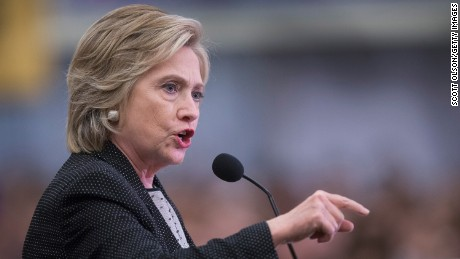 Democratic presidential candidate Hillary Clinton speaks to guests gathered for a campaign event at the University of Wisconsin-Milwaukee on September 10, 2015 in Milwaukee, Wisconsin. A recent poll has Clinton leading Senator Bernie Sanders (I-VT) by 12 points in the state.