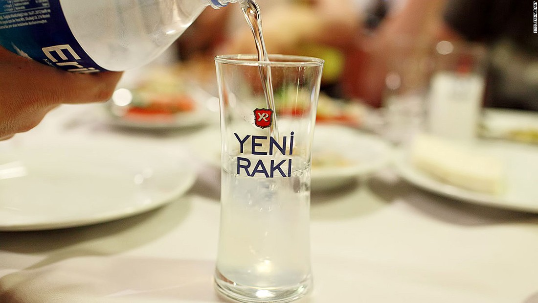 A group of first-timers should ask for a 35-centiliter bottle of raki -- one-third of a liter -- and tell the waiter you each want a tek (4cl) -- about one shot.  Raki is always served with chilled water, although some fans say ice diminishes the flavor of the drink.