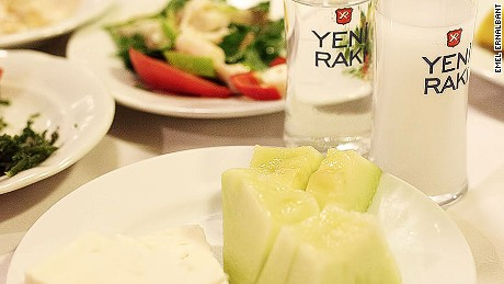 Feta and melons are the first meze to appear at a raki gathering.