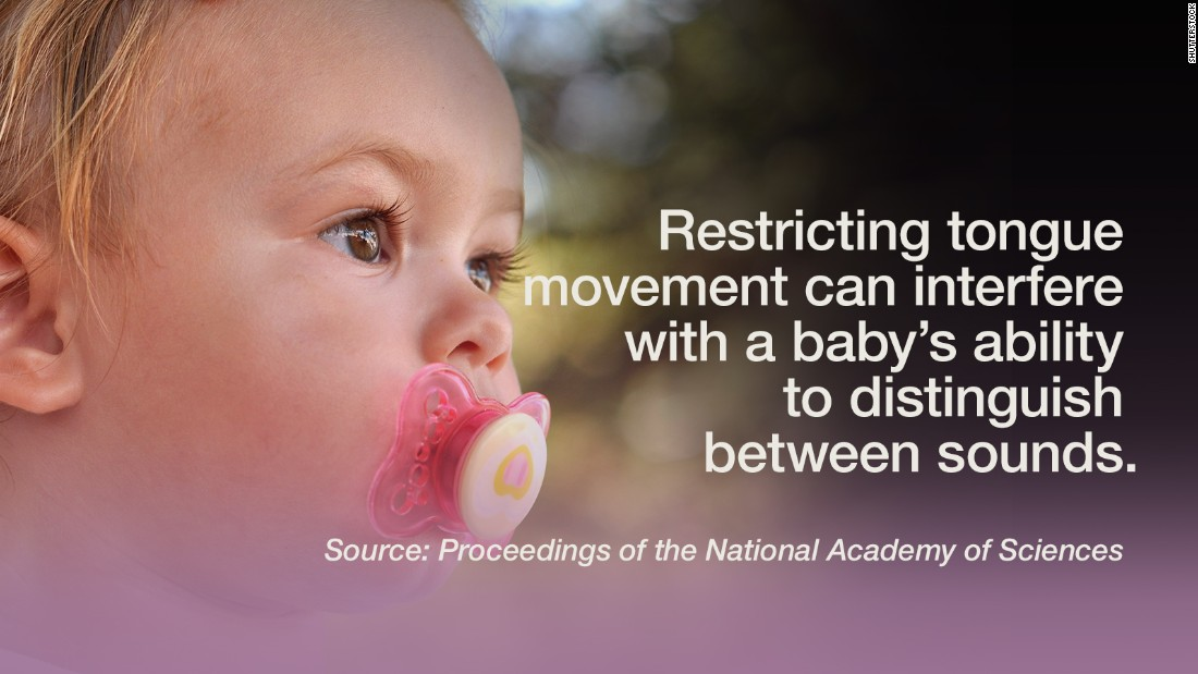 """Commonly used teething toys restrict tongue movement and can interfere with a baby's ability to distinguish between two different sounds, <a href=""""http://www.pnas.org/content/early/2015/10/06/1508631112.abstract"""" target=""""_blank"""">according to a study</a> published by the Proceeding of the National Academy of Sciences. Listening to sounds is not the only driving factor of speech perception and language acquisition for infants, the research showed. Six-month-old infants who had free tongue movement, as opposed to infants who were given teethers that restricted the movement, were able to make better distinctions of speech sounds. It seems that baby talk is beneficial for infants beyond the joy of babbling.  -- Viola Lanier"""