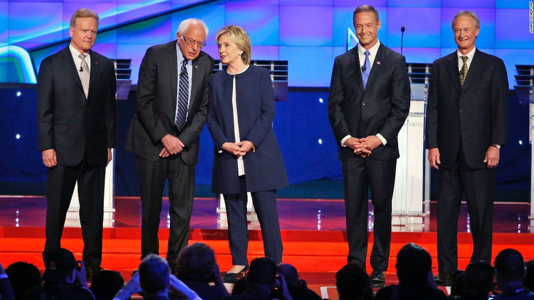 Democratic presidential candidates take the stage before debating in Las Vegas on Tuesday, October 13. From left are former U.S. Sen. Jim Webb, U.S. Sen. Bernie Sanders, former Secretary of State Hillary Clinton, former Maryland Gov. Martin O'Malley and former Rhode Island Gov. Lincoln Chafee.