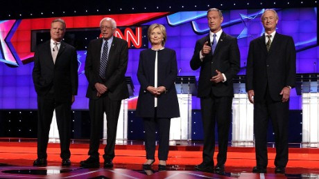 LAS VEGAS, NV - OCTOBER 13:  (L-R) Democratic presidential candidates Jim Webb, Sen. Bernie Sanders (I-VT), Hillary Clinton, Martin O'Malley and Lincoln Chafee take the stage for a Democratic presidential debate sponsored by CNN and Facebook at Wynn Las Vegas on October 13, 2015 in Las Vegas, Nevada. The five candidates are participating in the party's first presidential debate.  (Photo by Alex Wong/Getty Images)
