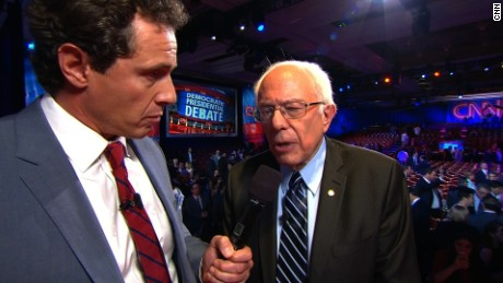 Bernie Sanders talks to CNN's Chris Cuomo following the CNN Democratic Debate in Las Vegas.