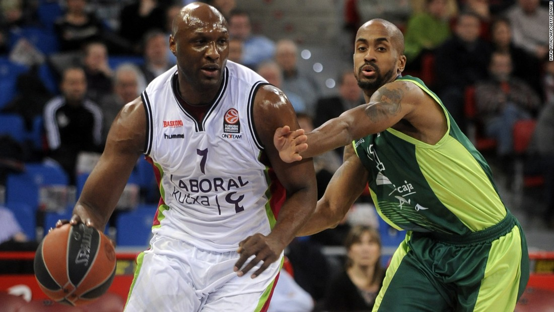 Odom plays for Spanish basketball club Laboral Kutxa during a Euroleague game in Vitoria, Spain, in February 2014.