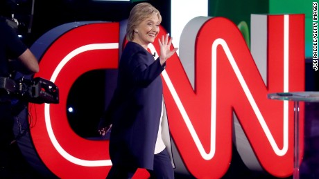 Democratic presidential candidate Hillary Clinton waves as she takes the stage for a presidential debate sponsored by CNN and Facebook at Wynn Las Vegas on October 13, 2015 in Las Vegas, Nevada.